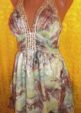 Стильный сарафан платье открытая спина goddess xs -44р s