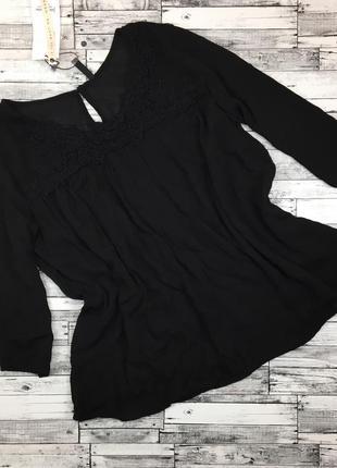 -70%! чёрная свободная блуза из вискозы, с кружевом, с