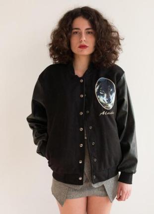 Куртка бомбер американка кофта с кожаными рукавами курточка куртка