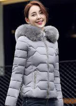 Продам теплую серую зимнюю куртку с мехом - мутон