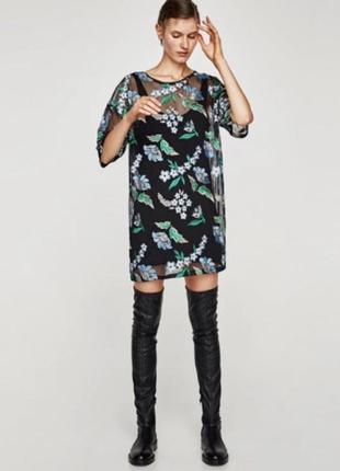 Прозрачное свободное шифоновое платье сетка с цветочной вышивкой зара zara dcad856045a