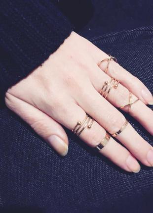 Набор колец на пальцы и фаланги золотые завитки ( 6 штук )