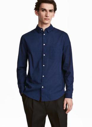 Мужская рубашка h&m с длинным рукавом, l, xl