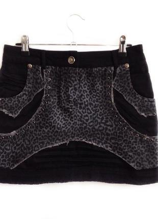 Юбка джинс леопард чёрная мини
