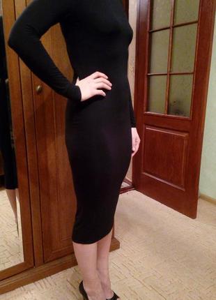 Базовое актуальное черное платье миди boohoo