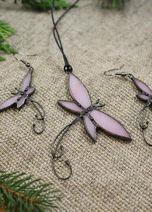 Комплект украшений бабочки нежно-розовые