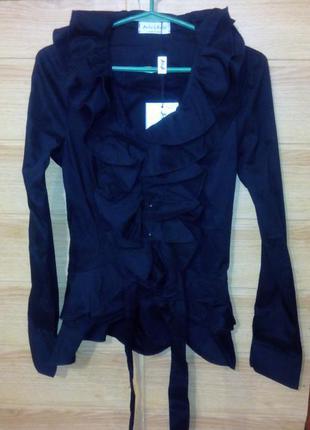 Оригинальная черная блуза-рубашка