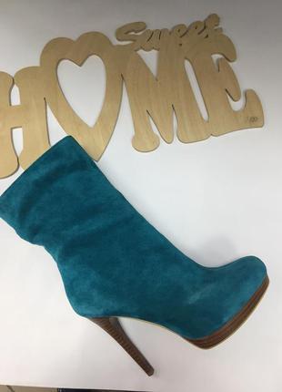 Бирюзовые осенние ботинки