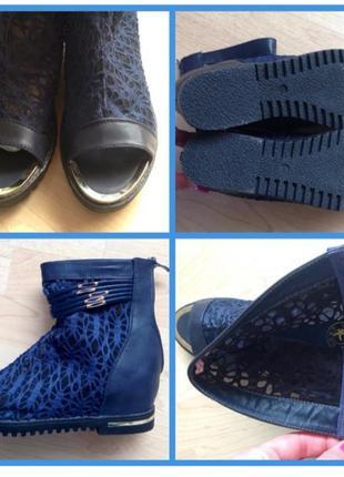 Ботильоны ботинки туфли 38/39 открытый носок гипюр кружево сетка гладиаторы