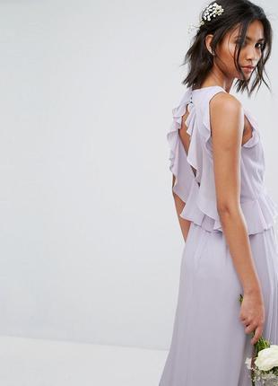 Tfnc лиловое макси-платье с воланами