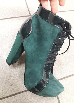 Натуральные замшеые ботинки польша