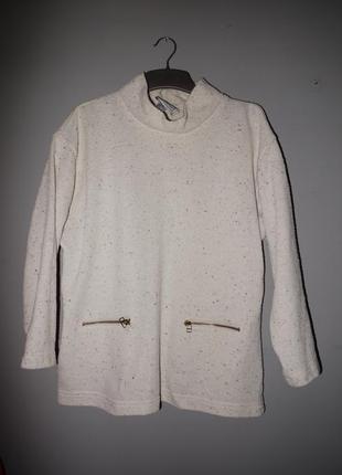 Махровый свитшот кремовый с карманами на молниях . овер сайз  . италия1 фото