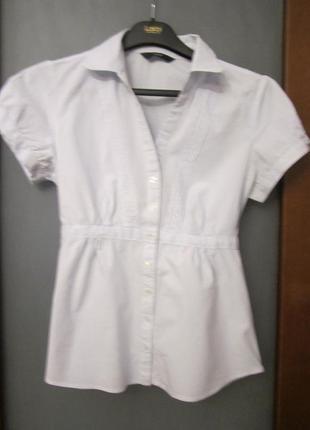 Блузка летняя f&f белая в  голубую полоску  натуральная