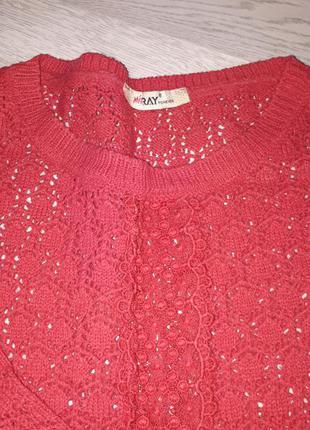 Ажурный свитер туника