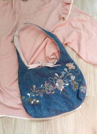 Сумочка джинсовая principles с вышивкой цветы