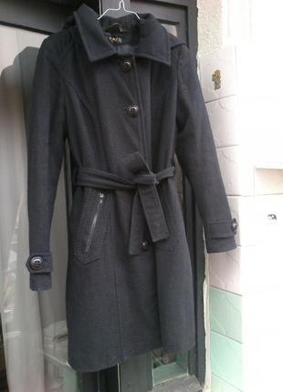 Зимнее утепленное пальто с капюшоном, 55% шерсть. размер s-m