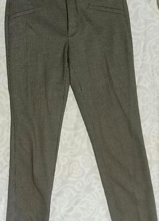 Базовые укороченные брюки zara в мелкую клетку