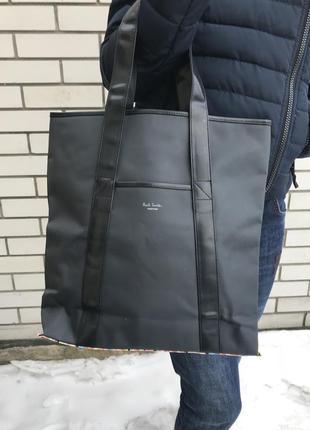 Большая  сумка,торба-шоппер,плотная плащевка + детали кож.зам, paul smith оригинал