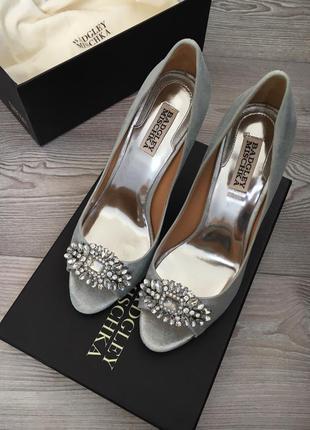 Серебряные свадебные туфли badgley mischka, р.38,5