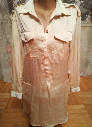 Стильная рубашка платье, туника, с разрезами по бокам, размер 14-16, наш 48-50
