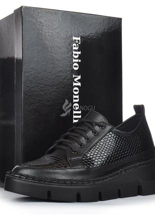 Туфли кожаные fabio monelli женские на платформе/танкетке черные на шнуровке