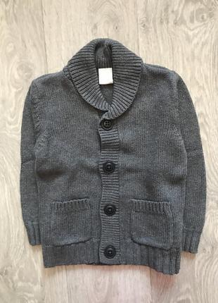 Серый вязаный кардиган свитер на пуговицах h&m