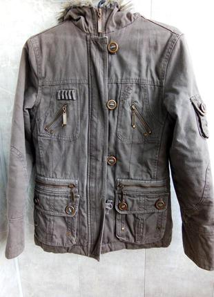 Куртка парка коричневая с мехом