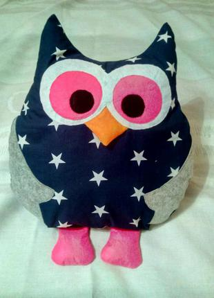 Декоративная подушка совушка, подушка-игрушка сова