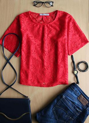 Кружевная укороченная блуза
