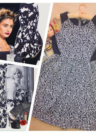 Стильное красивое брендовое платье в принт розы