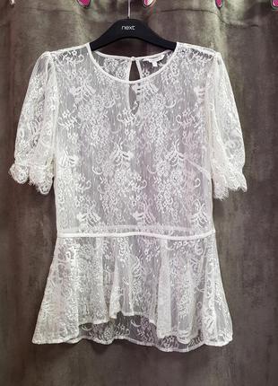 Блуза из гипюра с баской,кружевная блуза с баской