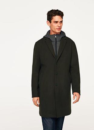 Zara man пальто xxl зеленое, 60% шерсть