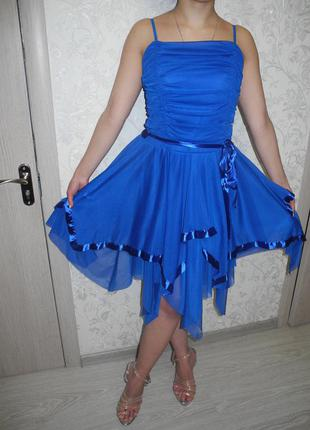 Вечернее синее платье из шифона