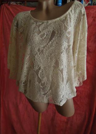 Ажурная  блуза кроп топ набивной гипюр