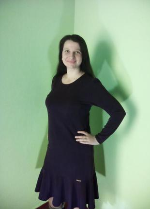 Платья трикотажные(48,50 размеры)/сукні нижче колін з довгими рукавами2 фото