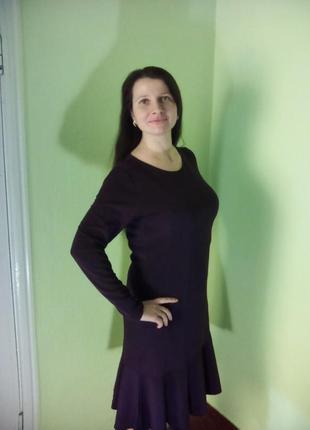 Платья трикотажные(48,50 размеры)/сукні нижче колін з довгими рукавами3 фото