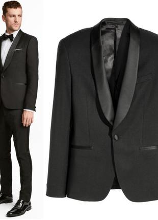 Шерстяной смокинг h&m,черный пиджак с атласным воротником.мужской класический пиджак
