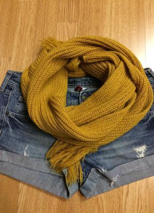 Яркий теплый вязаный шарф,вязаный шарфик в подарок