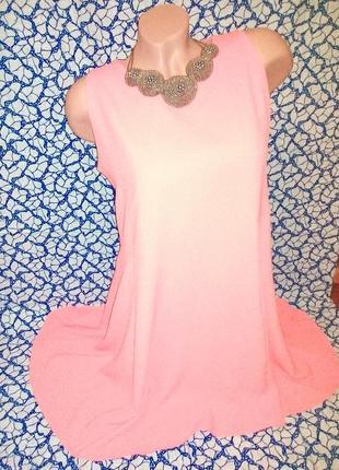Оранжево-розовое свободное платье