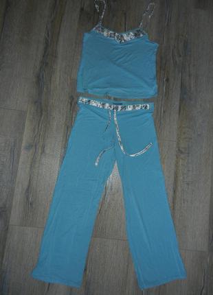 40/м f&f,англия! голубая пижама, вискоза