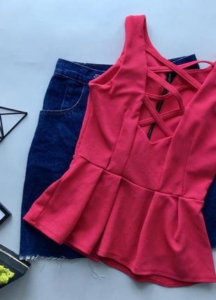 Красная блуза с шнуровкой вырезом рюшами баской молнией zara