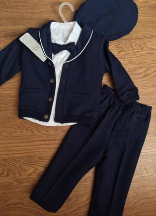 Синий костюм для мальчика 80 интересный современный рубашка пиджак