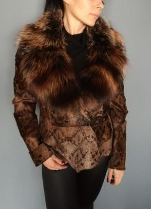 Кожаный шик курточка angellost с натуральным мехом 42-46
