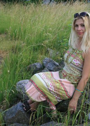 Летнее яркое платье миди # сарафан хлопок
