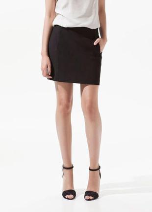 Черная мини юбка zara