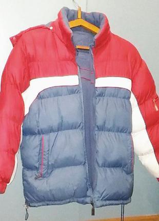 Куртка пуховик короткий двусторонний зимний