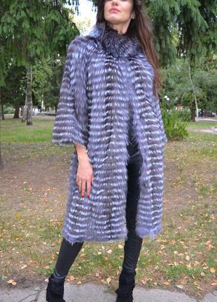 Кардиган из чернобурки,  чернобурка в роспуск, пальто меховое.