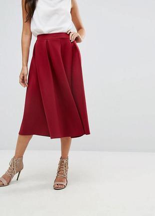 Бордовая юбка марсала boohoo