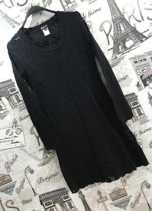 Ажурное черное короткое платье
