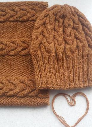 Шапка бини удлиненная унисекс зимняя вязаная теплая и снуд / хомут